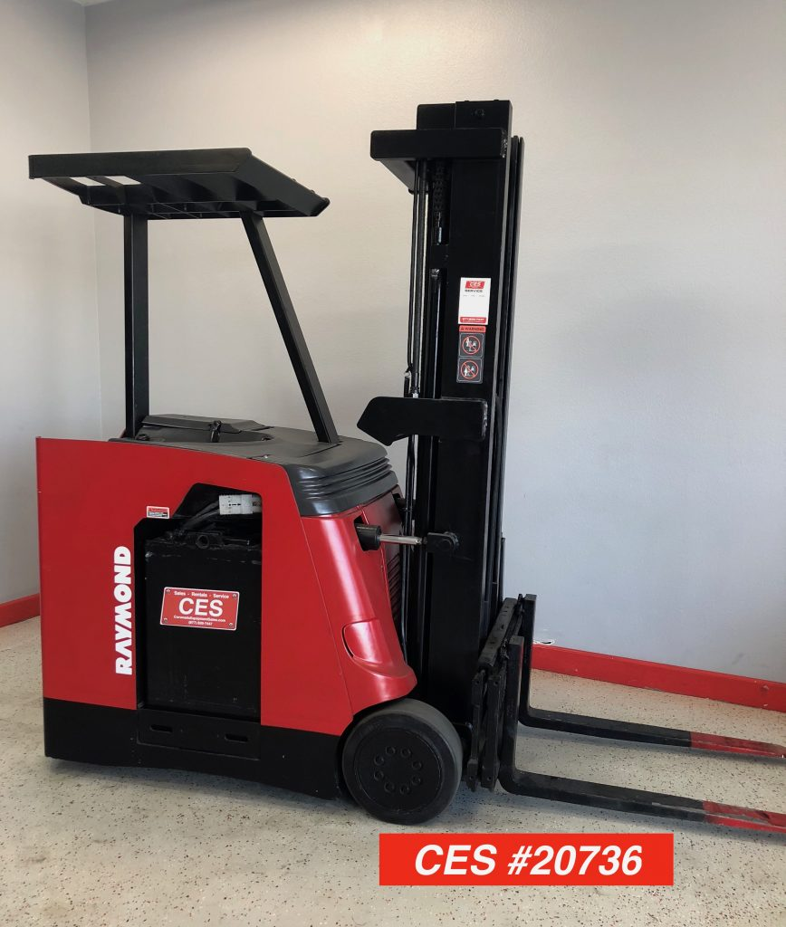 used raymond 3 wheel docker narrow aisle stand up forklift