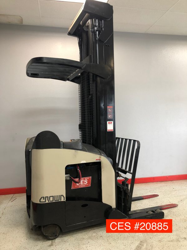 Image of a used Crown reach forklift. This electric forklift has been reconditioned by professionals to ensure quality performance.