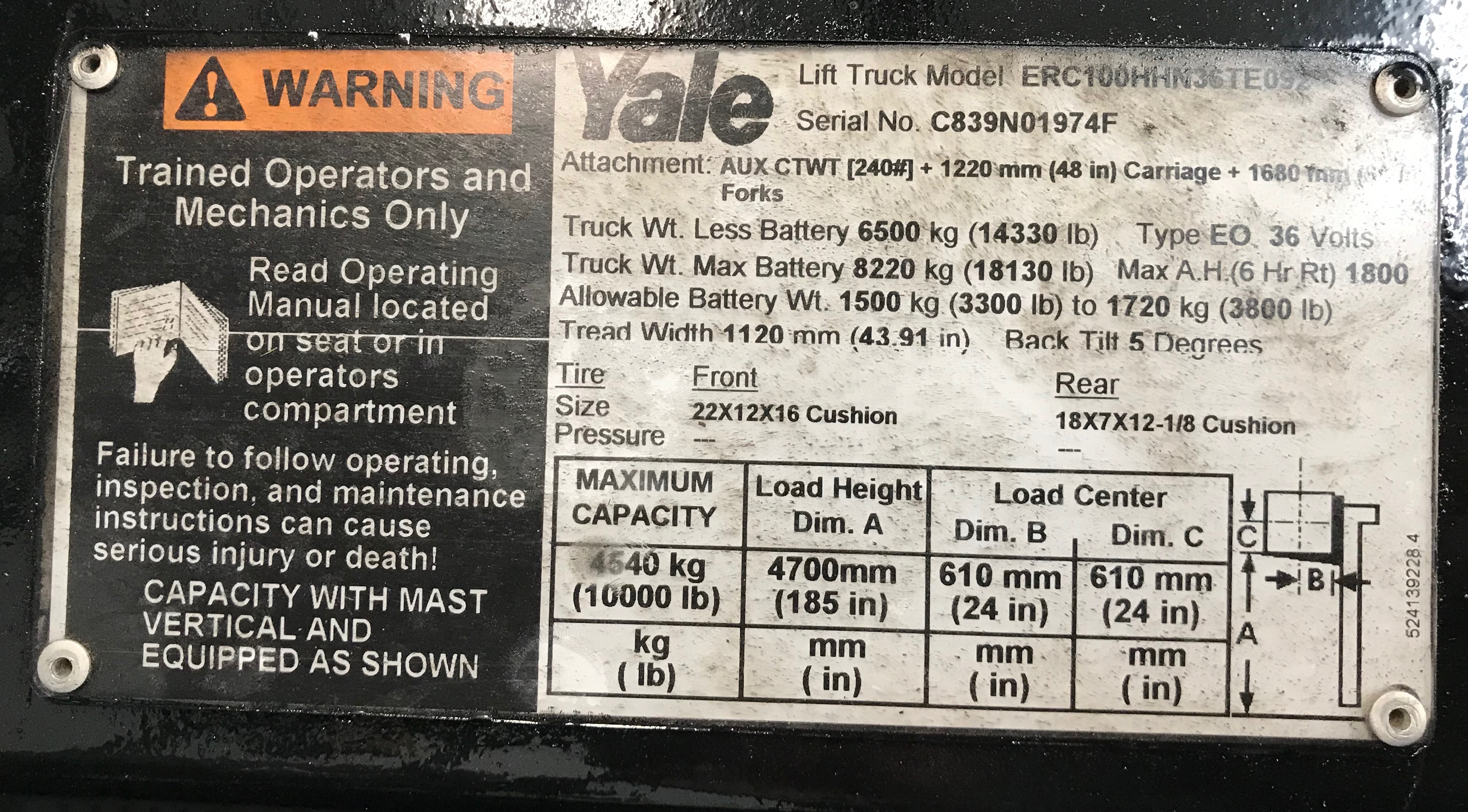 CES #20907 Yale ERC100 Electric Forklift
