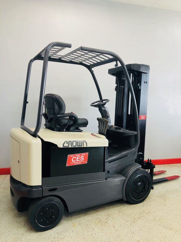 Image of a reconditioned Crown electric sit down forklift. This used electric forklift runs extremely smooth and offers dependable performance.