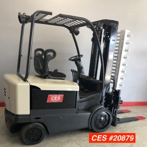 Image of a reconditioned Crown electric forklift. This used electric forklift has a Cascade Single Double Clamp and is ready to perform.