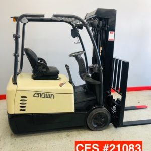 Image of a reconditioned Crown 3 wheel electric forklift. This used electric forklift is perfect for narrow aisle applications.