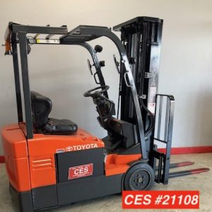 Image of a reconditioned Toyota 3 wheel electric forklift. This used electric forklift is perfect for narrow aisle applications