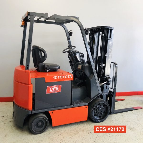 Image of a quality, used Toyota electric forklift. This used electric forklift has been professionally reconditioned and performs like it is new.