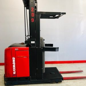 Image of a used Raymond order picker. This electric order picker has been professionally reconditioned to ensure quality performance.