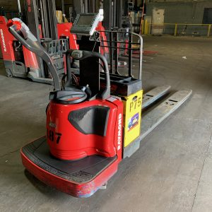 Image of a used Raymond electric pallet jack. This electric pallet jack is guaranteed to perform